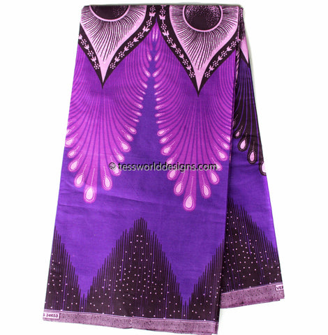 African Fabric by the yard , violet plume ,  WP989B