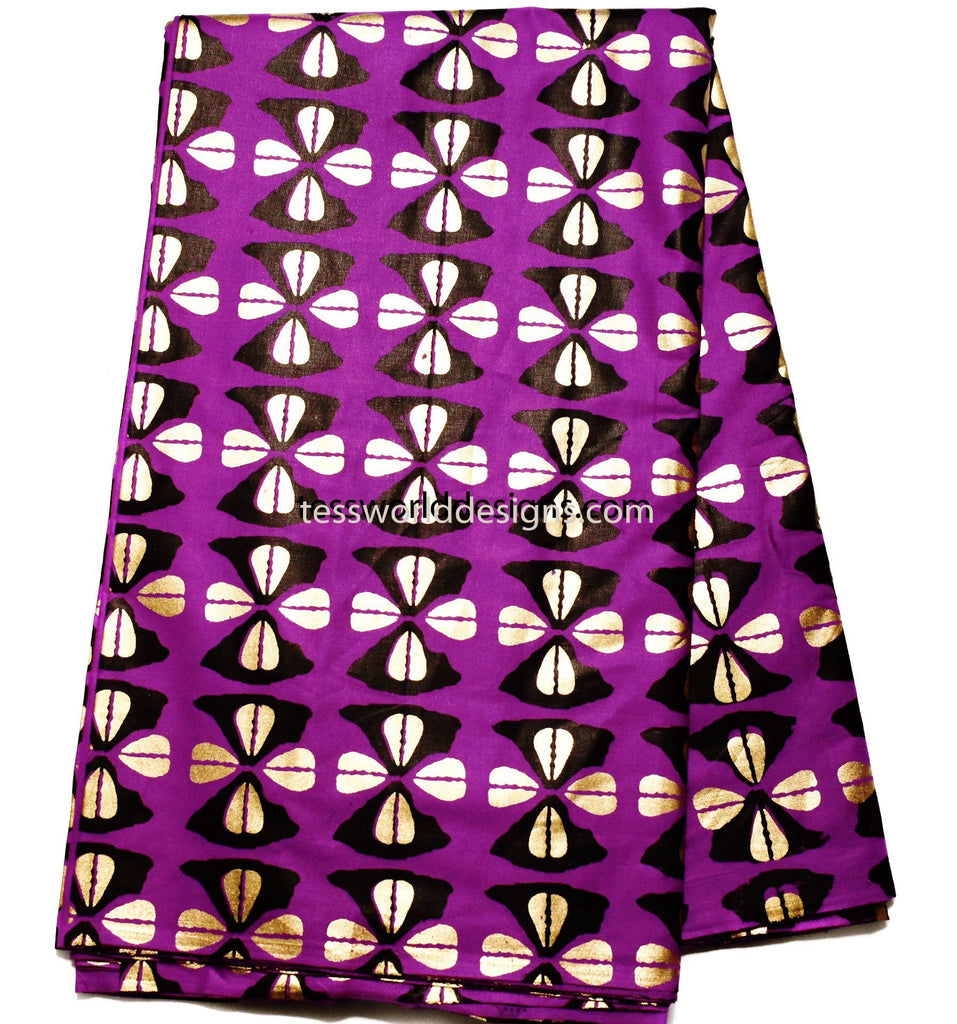 African tribal fabric, purple/metallic golden Hokui 6 yards TP77 - Tess World Designs, LLC