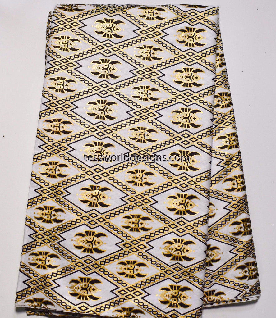 African tribal fabric, white/metallic gold Masa 6 yards TP73 - Tess World Designs, LLC