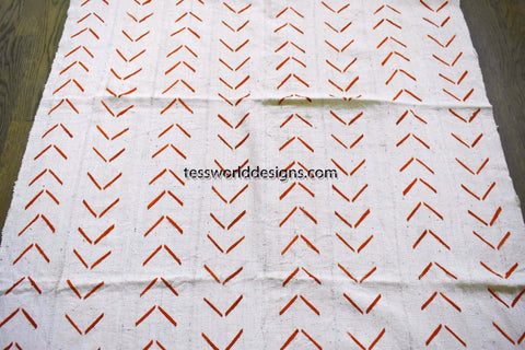 Authentic Mali mud cloth Fabric, white, red orange herringbone, MC200