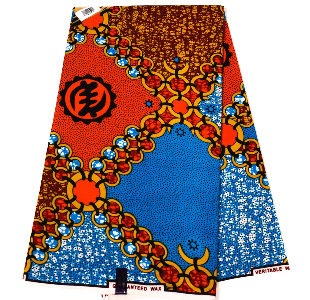 African fabric, red/blue adinkra symbol 6 yards WP1188 - Tess World Designs, LLC