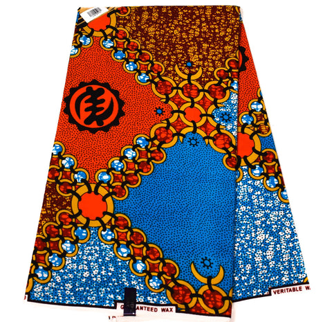 African fabric, red/blue adinkra symbol 6 yards WP1188