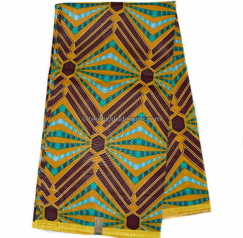 WP982 - African Fabrics, brown, teal abstract, 6 yards