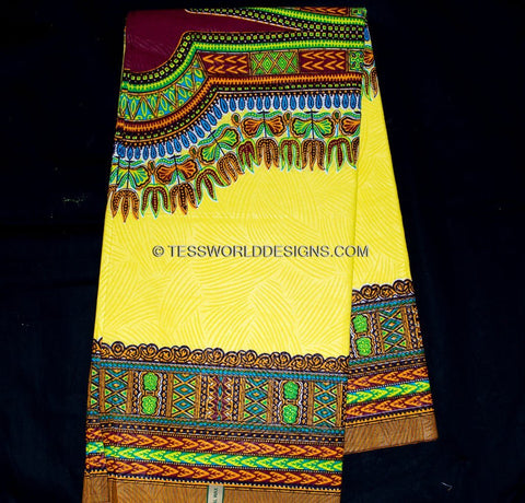 WP556 - Yellow Dashiki Fabric- Angelina, 6 yards - Tess World Designs  - 1