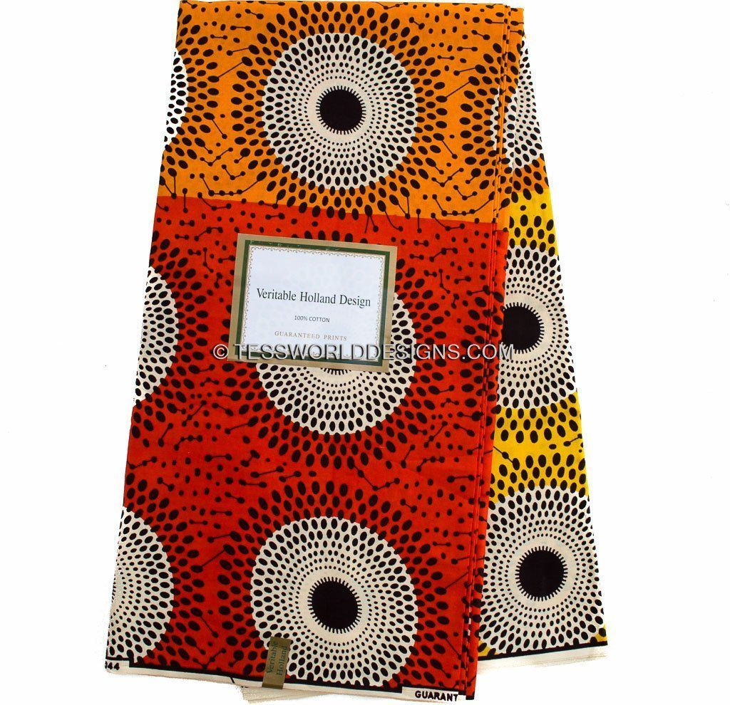 African fabric by the yard/ Ankara Fabric/ Dutch Wax Hollandais WP772B - Tess World Designs, LLC