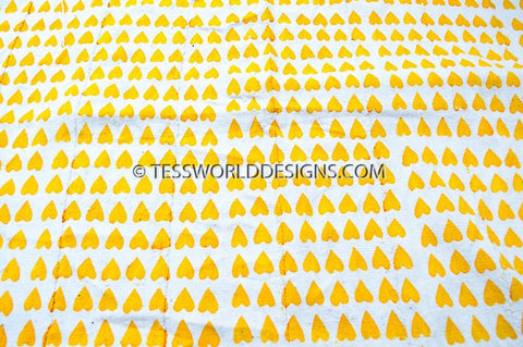 Authentic Mali mud cloth Fabric, yellow hearts, - Tess World Designs