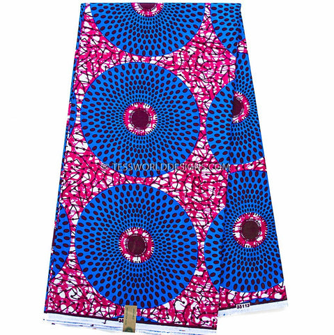 WP959 - African Fabrics, Fuchsia, blue circle 6 yards - Tess World Designs