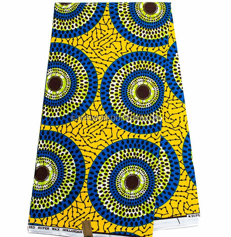 WP929 - African Fabrics, Yellow, blue circle 6 yards - Tess World Designs