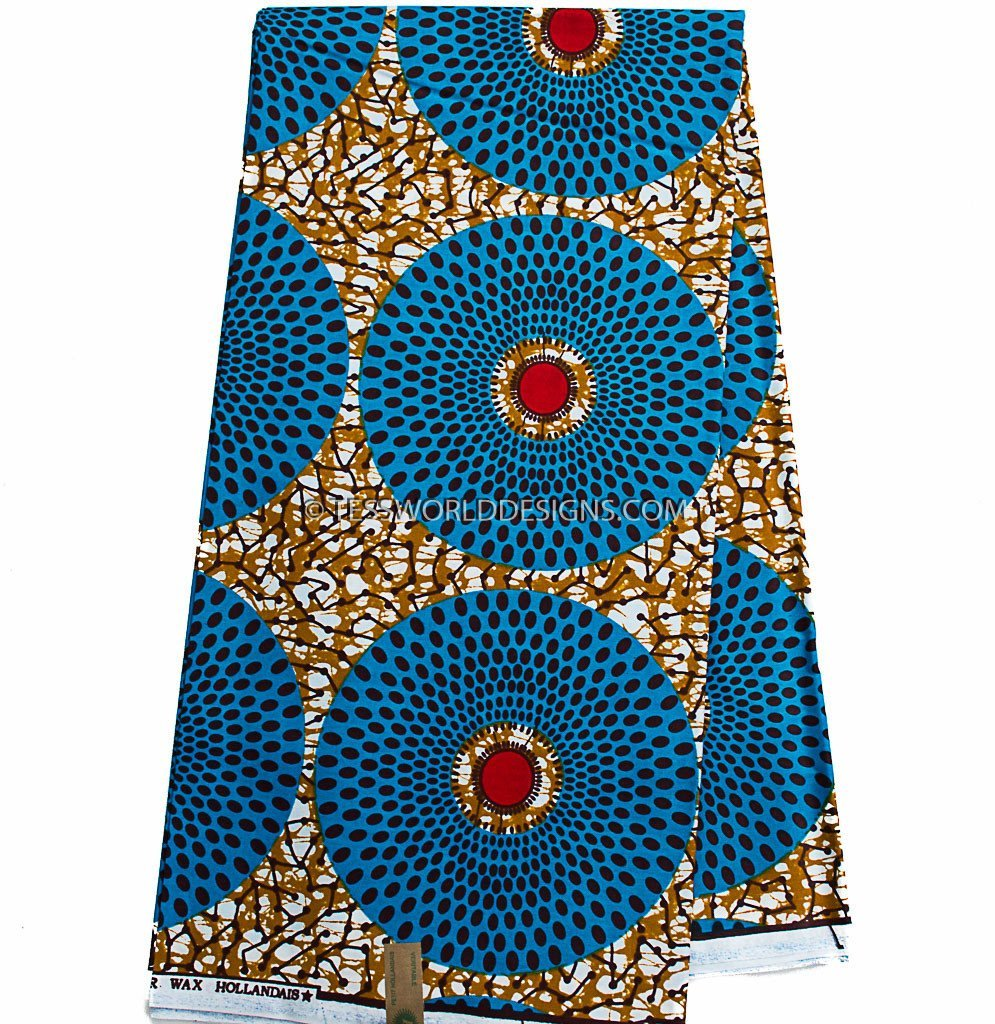 African Fabric by the yard, brown, blue circle WP932B - Tess World Designs, LLC
