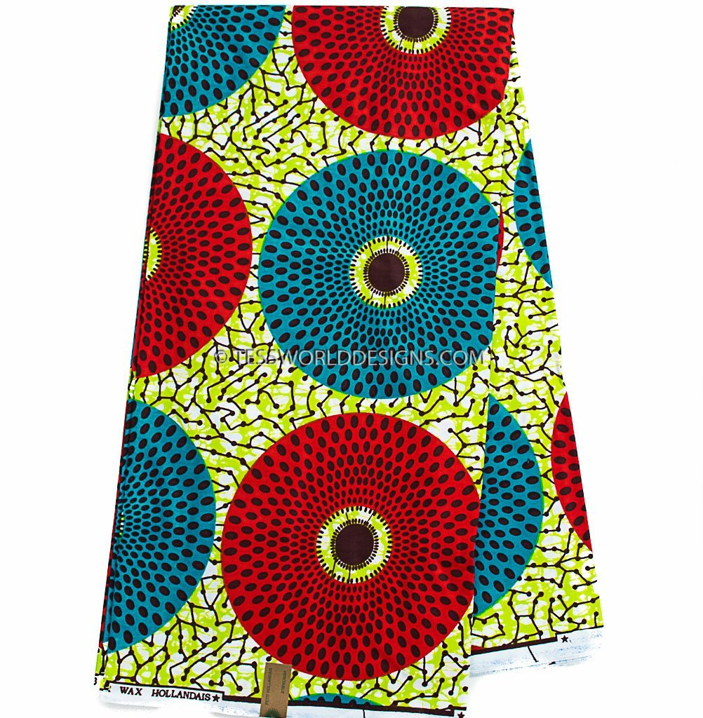 African Fabric sold per yard, red, green WP692B - Tess World Designs, LLC