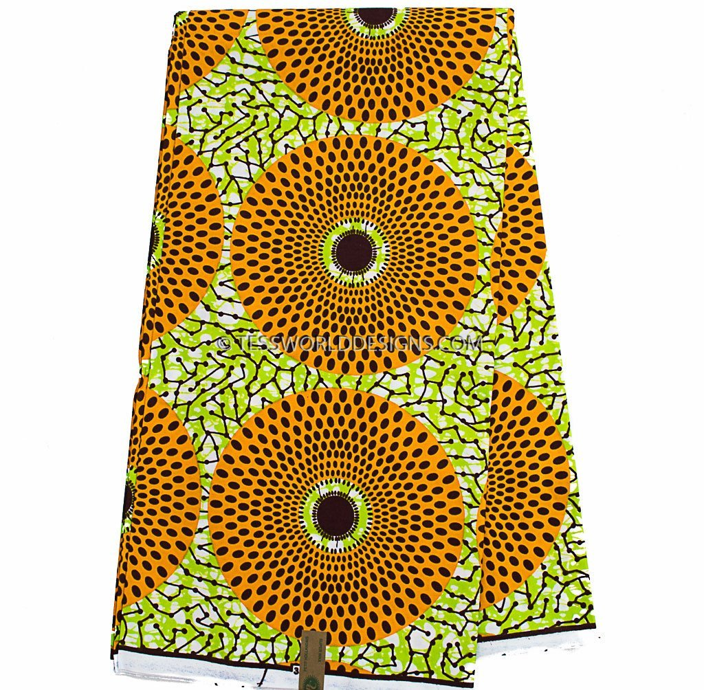WP931 - African Fabrics, orange, lime green circle 6 yards - Tess World Designs