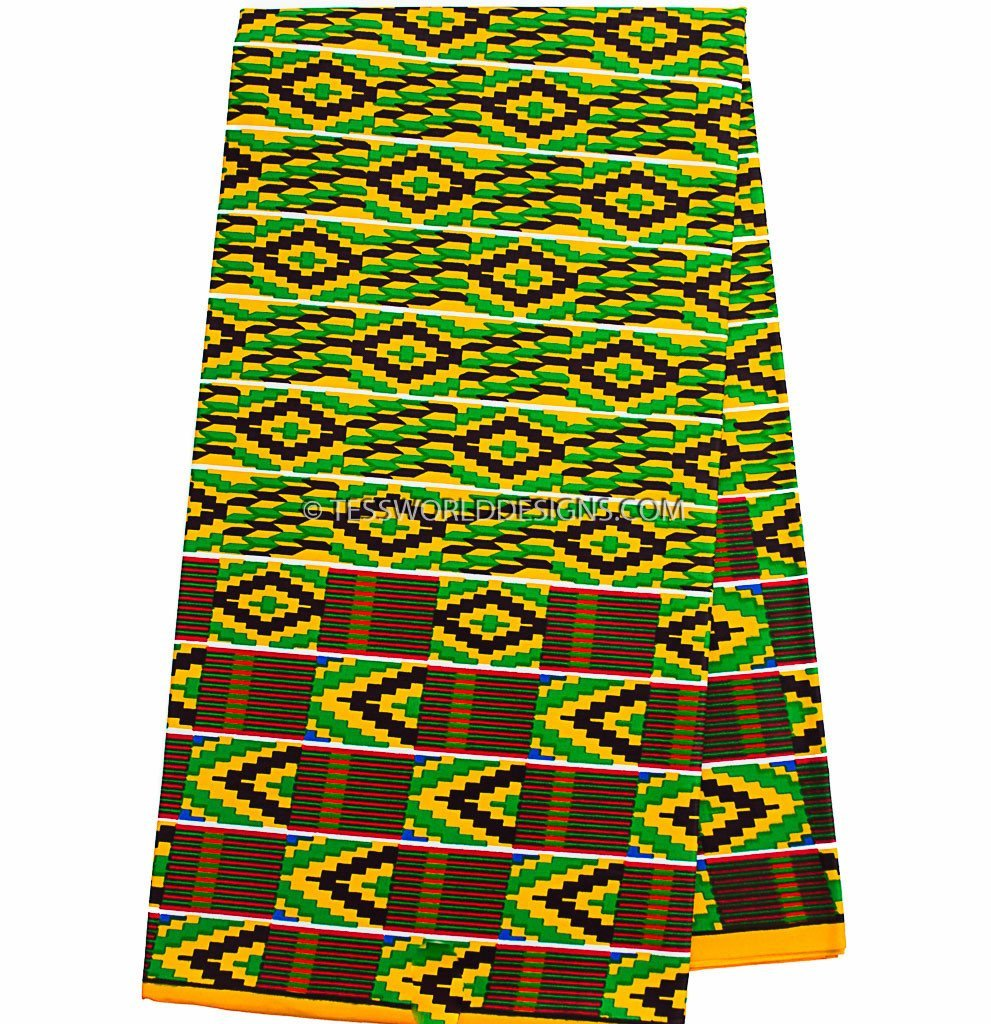KF253 - Kente Fabric, Green, yellow, 6 yards - Tess World Designs