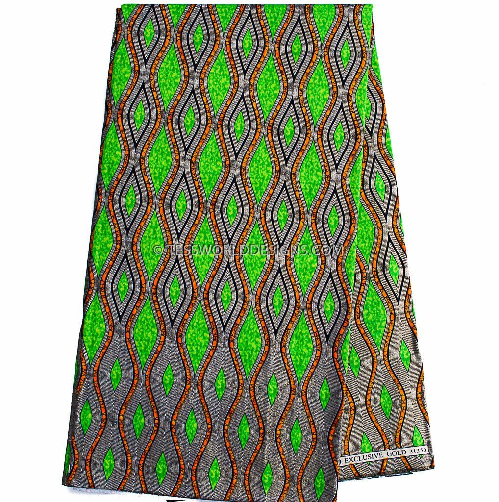 WP933 - Glitter African Fabric, green, gold metallics 6 yards - Tess World Designs  - 1