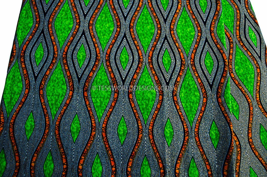 WP933 - Glitter African Fabric, green, gold metallics 6 yards - Tess World Designs  - 2
