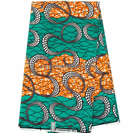 WP759 - Supreme Wax Holland Teal/Orange tentacles, 6 yards - Tess World Designs