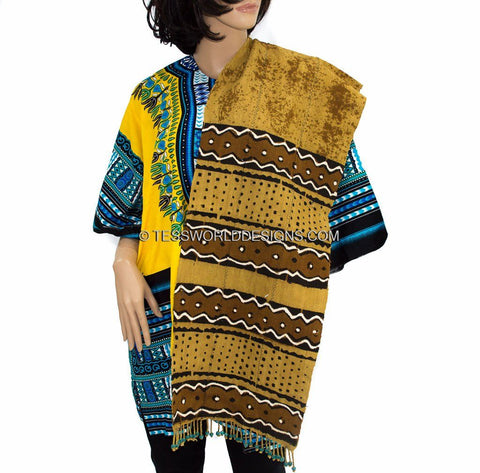 SC03 - Multi Purpose Reversible Mudcloth African Scarves. - Tess World Designs