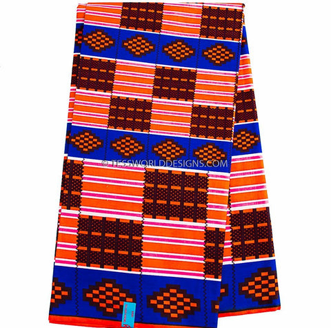 KF299 - Kente Fabric, royal blue, orange 6 yards - Tess World Designs