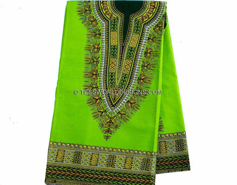 DS45  - Lime green Dashiki Angelina Fabric, small design  6 yards - Tess World Designs  - 1