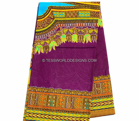 DS49 -  Dark Purple Dashiki Fabric- Angelina 6 yards - Tess World Designs  - 1