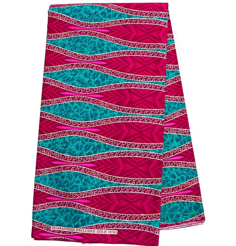 WP940 - Glitter African Fabric metallics, Turquoise, magenta 6 yards - Tess World Designs