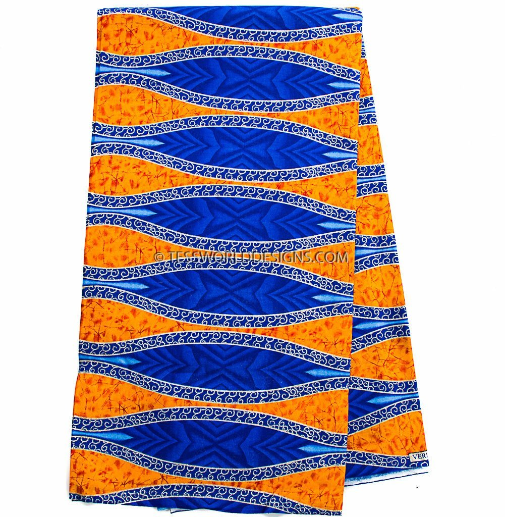 WP939 - Metallic African Fabric Orange, blue 6 yards - Tess World Designs