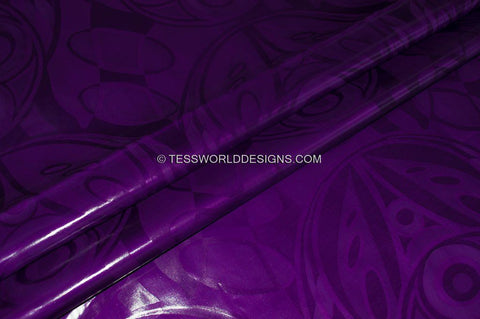 B130 -Purple African Bazin, Soft quality 5 yards - Tess World Designs
