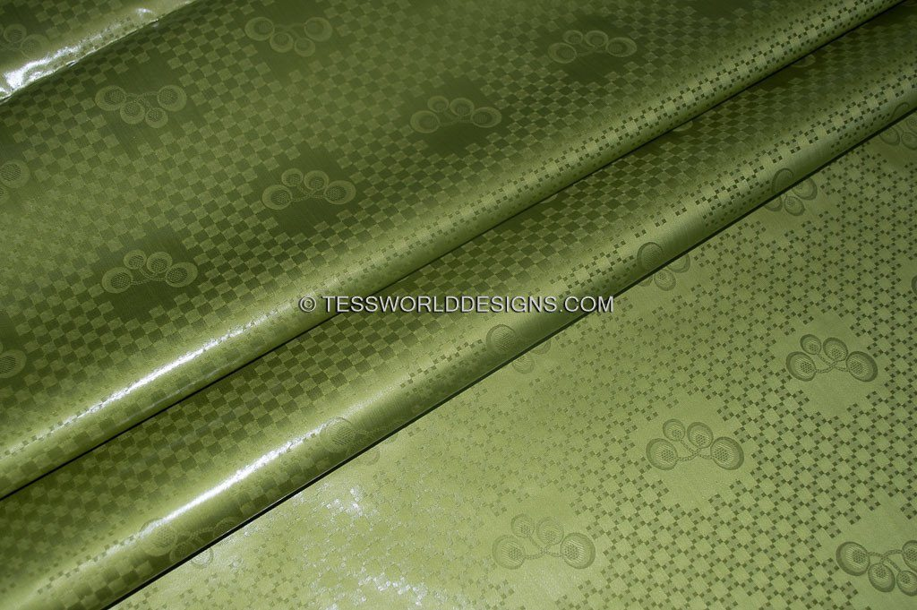 B129 - Olive African Bazin Fabric, Soft quality 5 yards - Tess World Designs