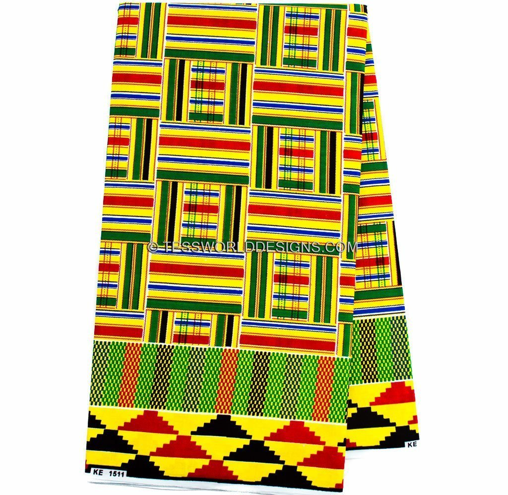 African fabric by the yard/ Kente Fabric/ Yellow  KF229B - Tess World Designs, LLC