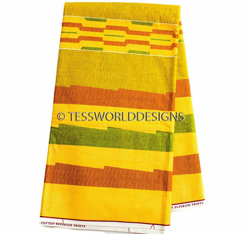 KF236 - Kente Fabric, yellow 6 yards - Tess World Designs  - 1