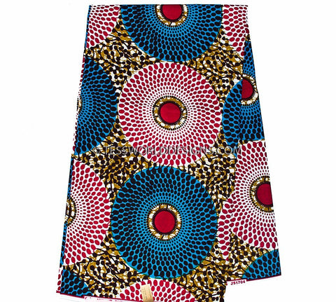 WP882 - Africa Fabric, blue, red  6 yards - Tess World Designs