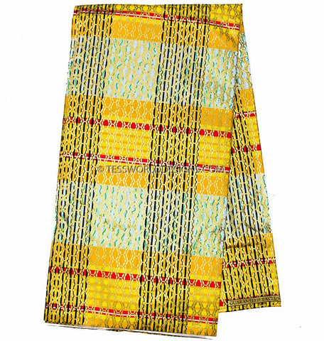 WP945 -  African Fabric metallics, yellow, Princess gold 6 yards - Tess World Designs