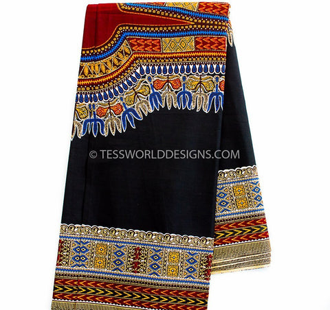 DS64 - Black Dashiki, Soft smooth texture Large design, 6 yards - Tess World Designs  - 1