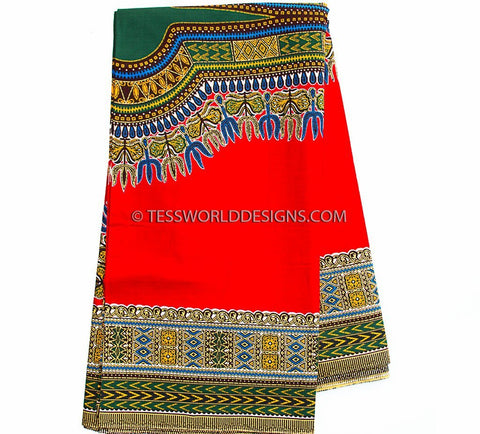 DS65 - Red Dashiki Fabric, smooth , Large design, 6 yards - Tess World Designs  - 1
