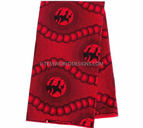 WP896 -  Red, black African fabric, Supreme wax  6 yards - Tess World Designs