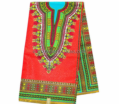 DS66 - Red  Dashiki Fabric, small design, Poly cotton  6 yards - Tess World Designs