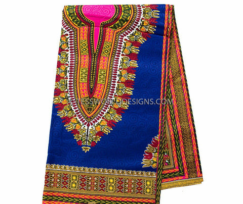 DS67 -  Dashiki Fabric, royal blue, small design, Poly cotton  6 yards - Tess World Designs