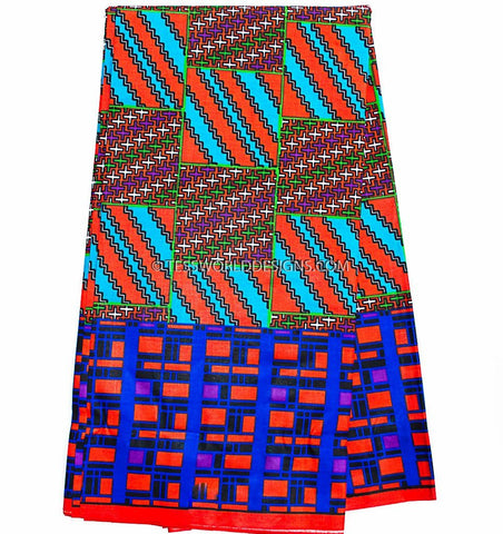 KF294 - Kente Fabric, blue, red  6 yards - Tess World Designs