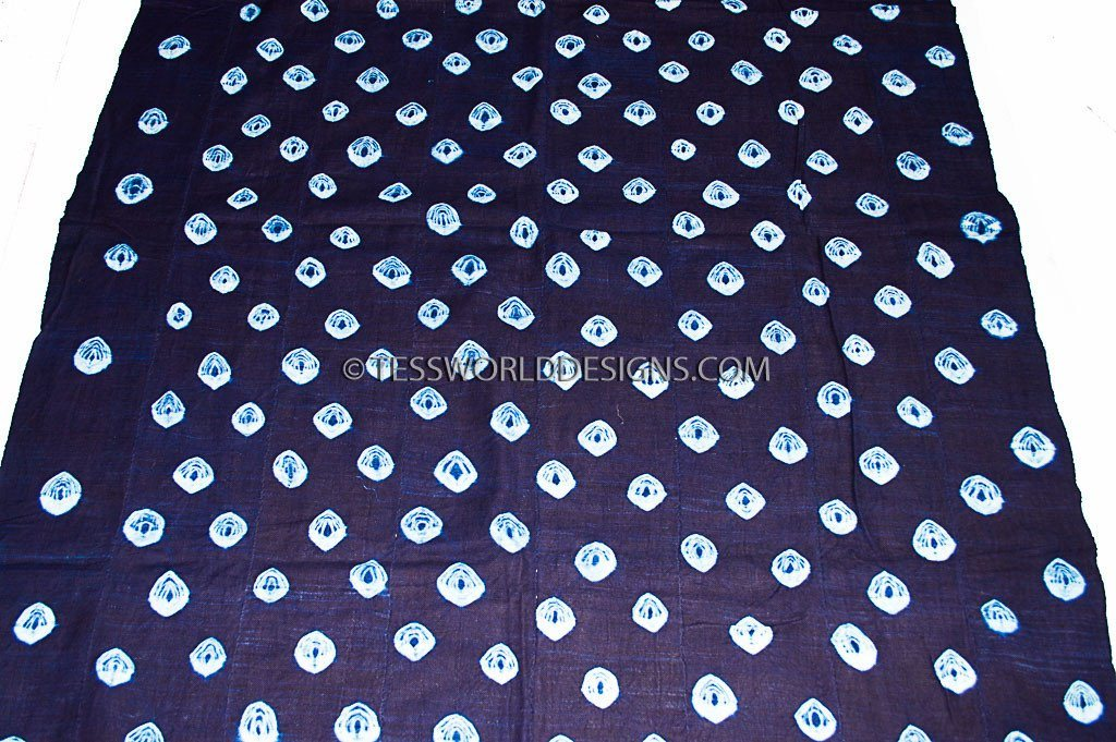 MC44- Mudcloth Fabric, Indigo Hand woven - Tess World Designs