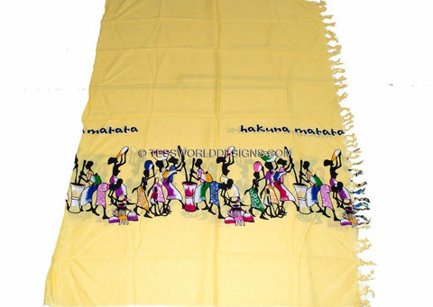 KY03 - Handmade Yellow Hakuna matata Kikoy Sarong fabric, - Tess World Designs