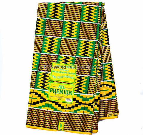 KF245 - ATL Ghana Kente Fabric, 6 yards - Tess World Designs
