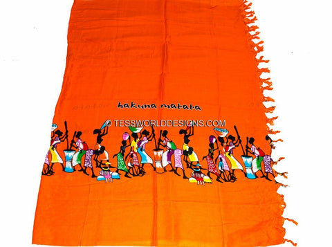 KY07 - Handmade orange Hakuna matata Kikoy Sarong fabric, - Tess World Designs