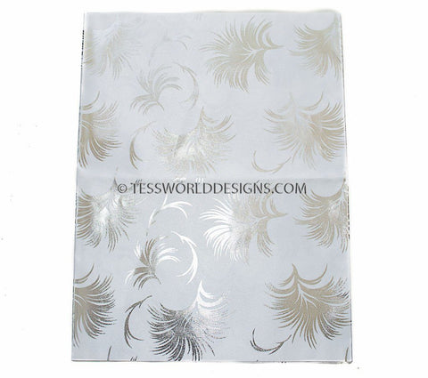 GL18 - Gele head wraps , Silver feather - Tess World Designs
