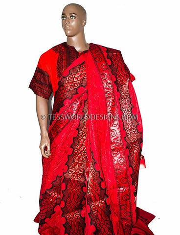 Mk12 Ghana Fabric Red Black Fabric With Sequins 12