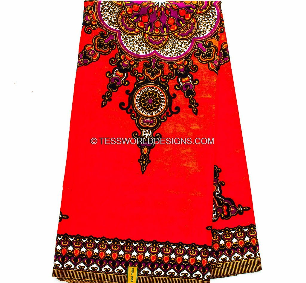 African fabric/ Dashiki Fabric - Hot Orange Star 6 panels DS40 - Tess World Designs, LLC