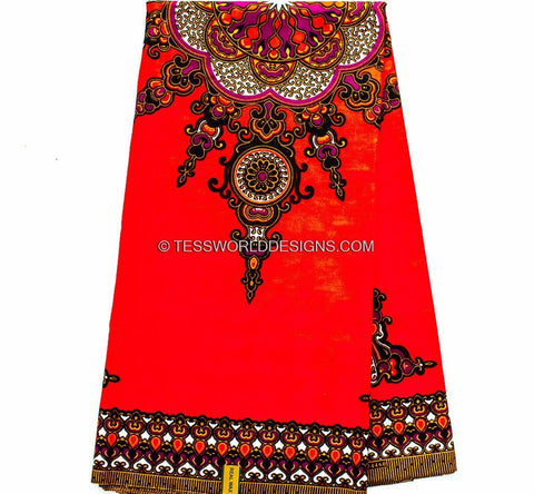 DS40 - Hot Orange Red Dashiki Fabric - Star 6 panels - Tess World Designs  - 1