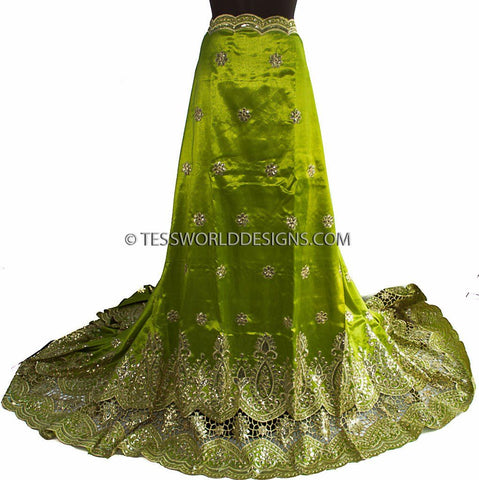 G15 -George lace, lime green, gold with sequins, 5 yards - Tess World Designs  - 1