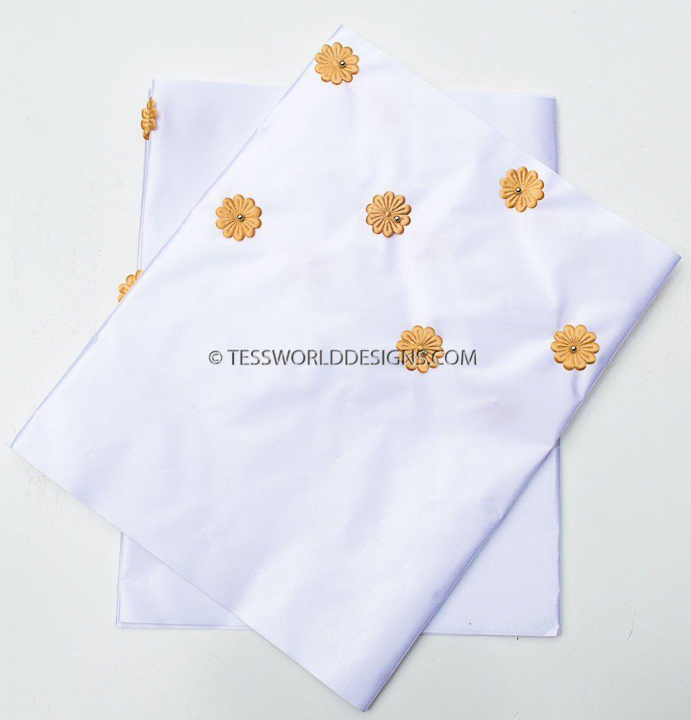 GE01 - White Gele head wraps set - Tess World Designs, LLC