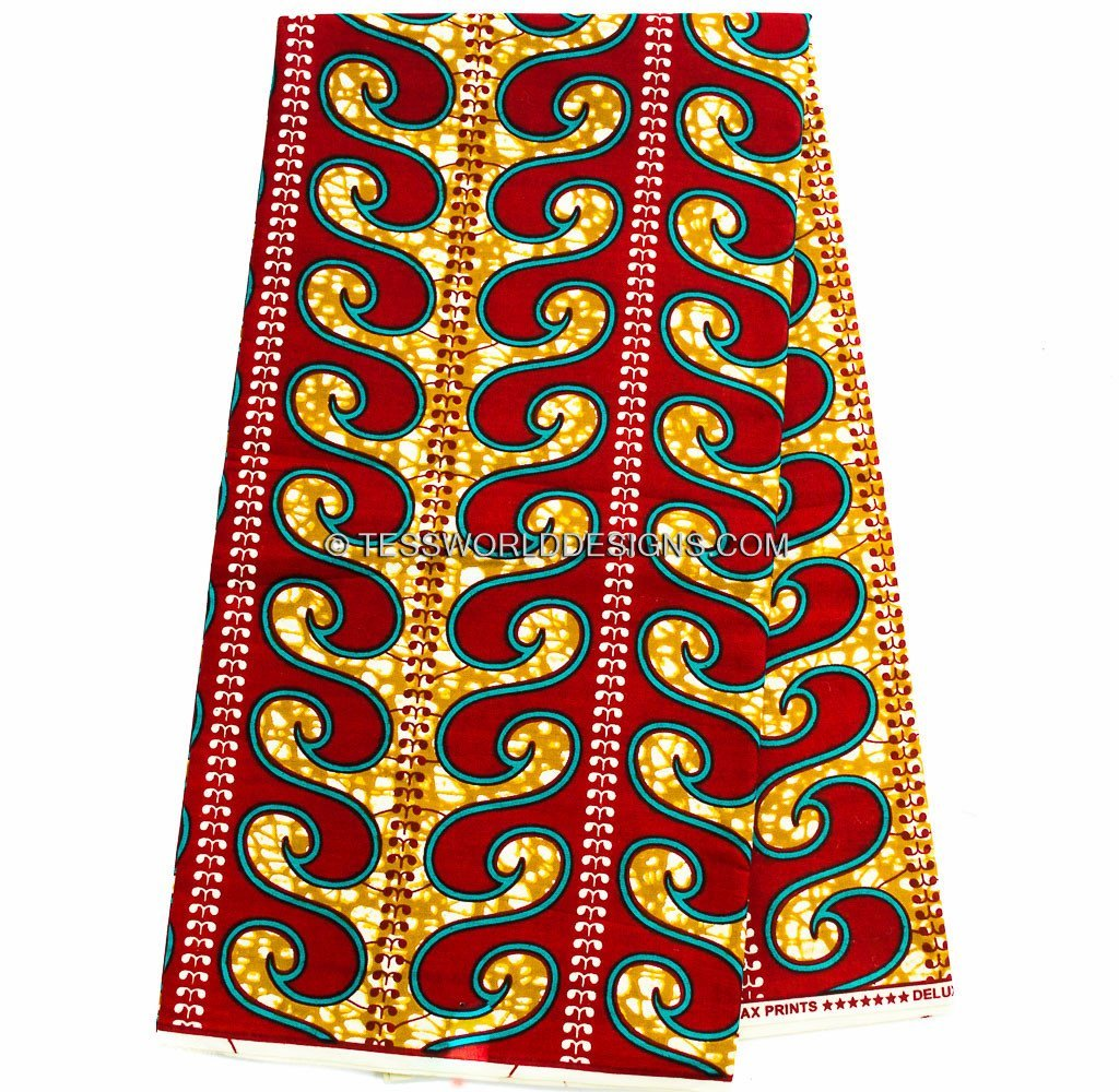WP803 -Red African wax fabric 6 yards - Tess World Designs