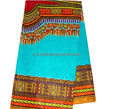 WP56 - Teal/red Dashiki Fabric- Angelina 6 yards - Tess World Designs  - 1