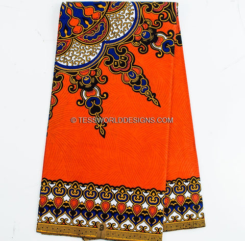 DS54 - Orange Dashiki Fabric - Star 6 yards - Tess World Designs  - 1
